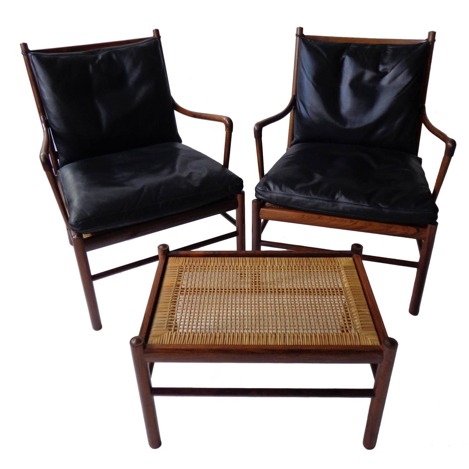 Ole Wanscher Colonial chairs and ottoman