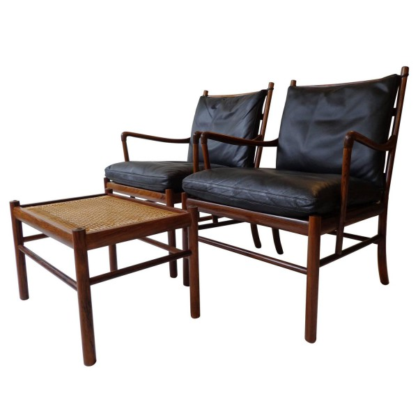 Ole Wanscher Colonial armchairs and ottoman in rosewood