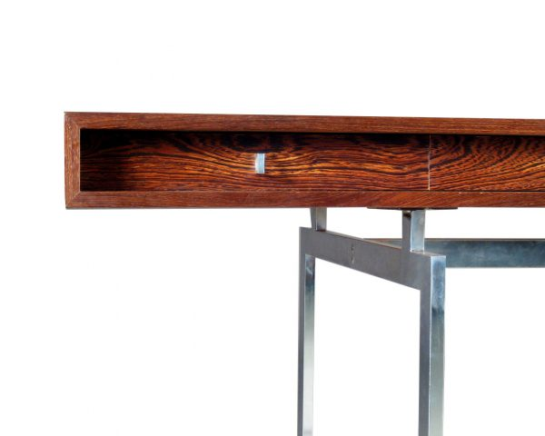 Bodil Kjær freestanding wengé desk with chrome-plated steel frame