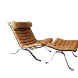 Arne Norell Ari lounge chair and ottoman in brown leather