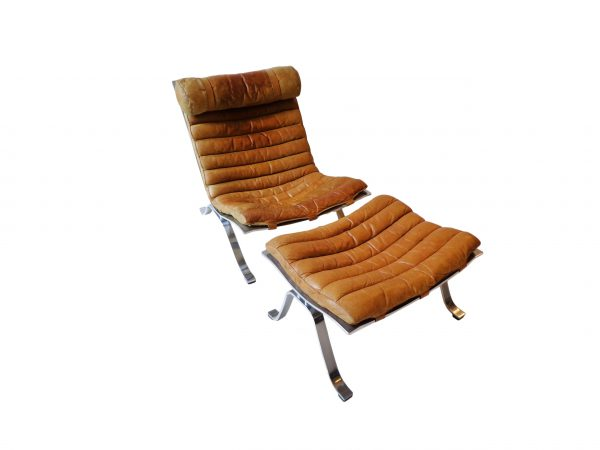 Arne Norell Ari lounge chair and ottoman in natural cognac leather