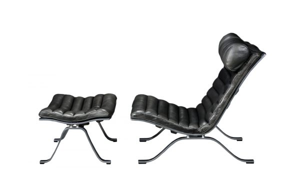 Arne Norell Ari lounge chair and ottoman in black leather