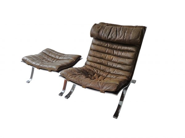 Arne Norell Ari lounge chair and ottoman in cognac/brown leather