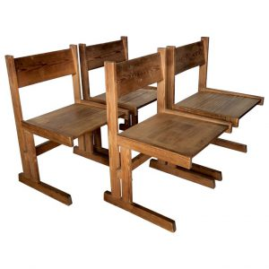 Set of four Mid century solid oregon pine chairs Danish 1960s
