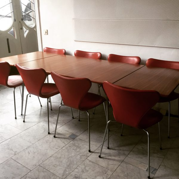 Danish Dining Chairs in Indian Red Leather by Arne Jacobsen 1960s